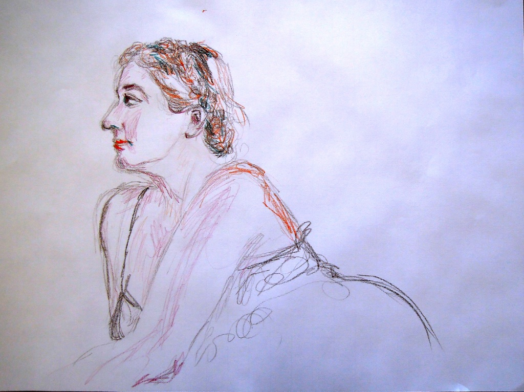 Sketch of Signe at Kato's memorial service, by Lisa Hsia