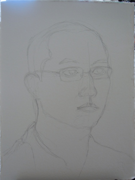 Pencil sketch of Erik's portrait, by Lisa Hsia