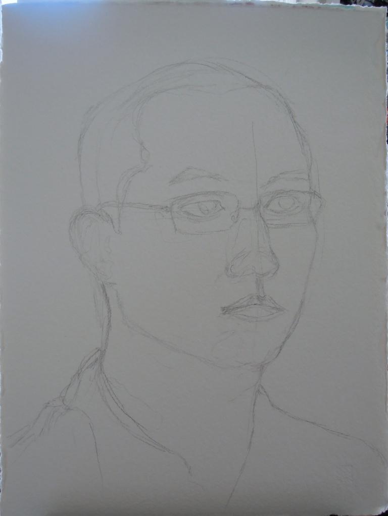 Pencil sketch of Erik's portrait, by Lisa Hsia
