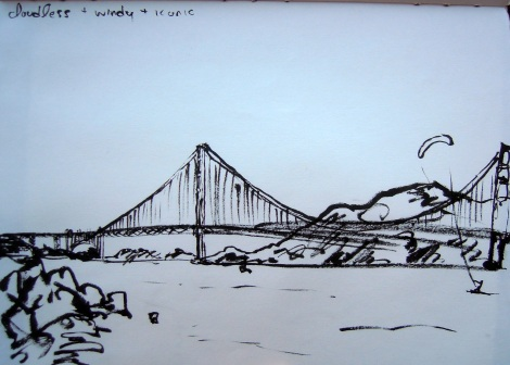 Sketch of the Golden Gate Bridge, by Lisa Hsia