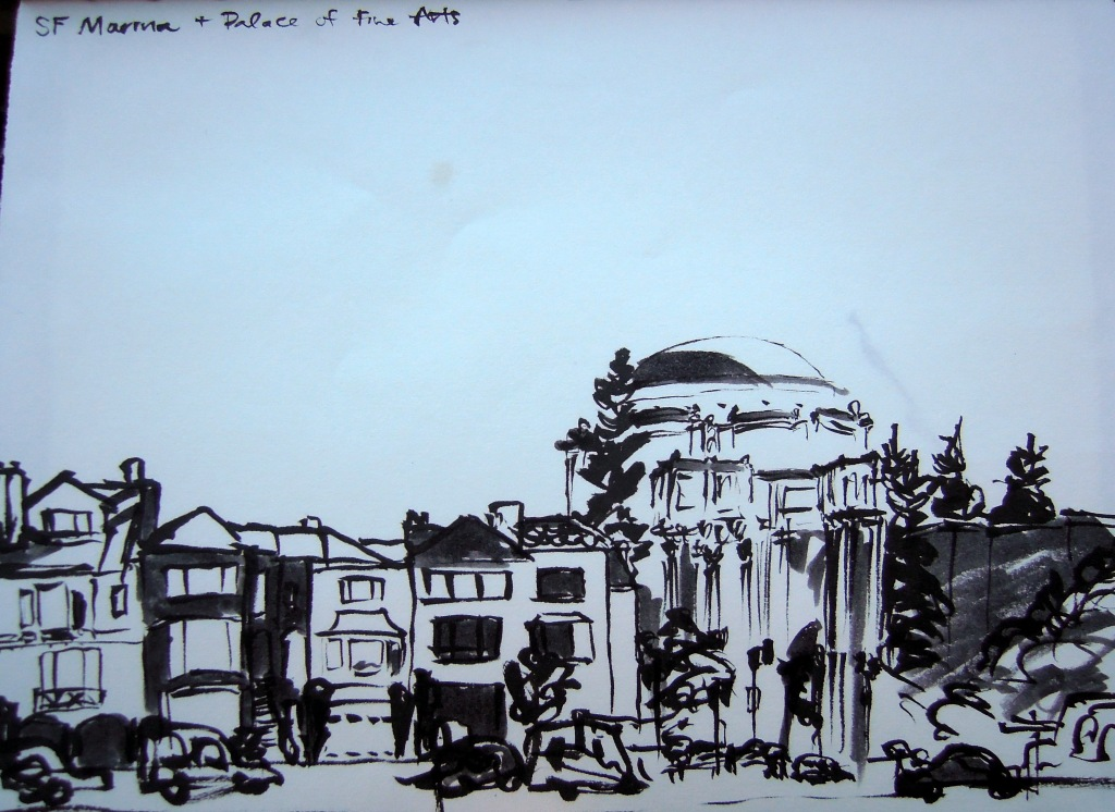 Sketch of the San Francisco Palace of Fine Arts rotunda and nearby houses, by Lisa Hsia