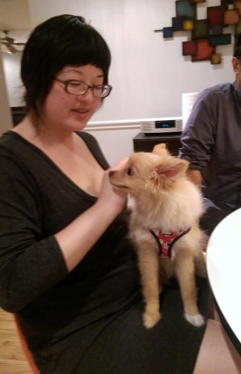 Lisa with Ying's friend Benny's dog, Yuki