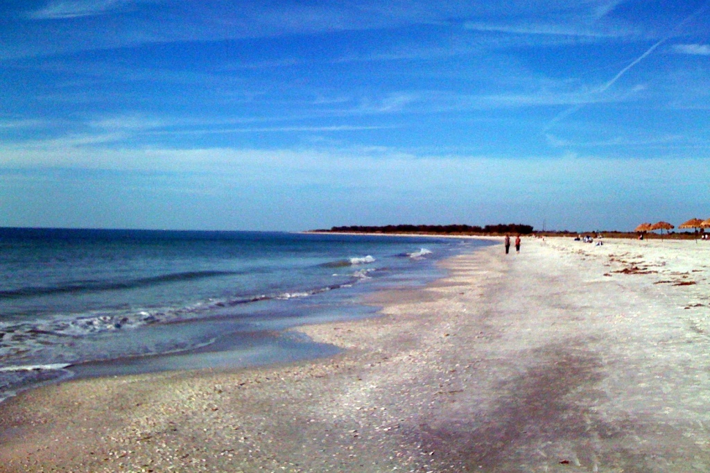 Beach walkers at Fort De Soto, Pinellas County, Florida
