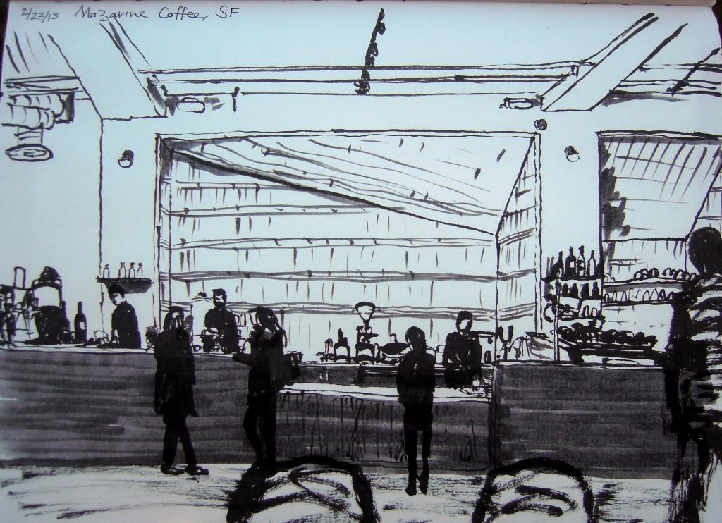 Sketch of Mazarine, San Francisco, by Lisa Hsia