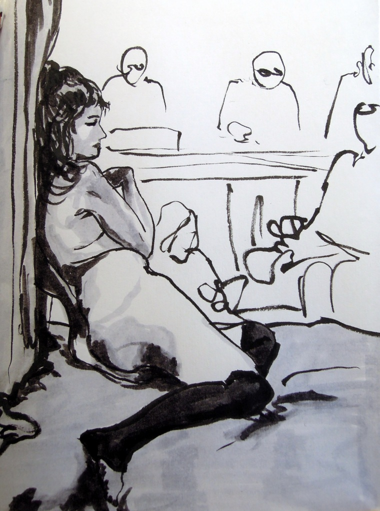 Marker sketch of a seated nude woman, by Lisa Hsia