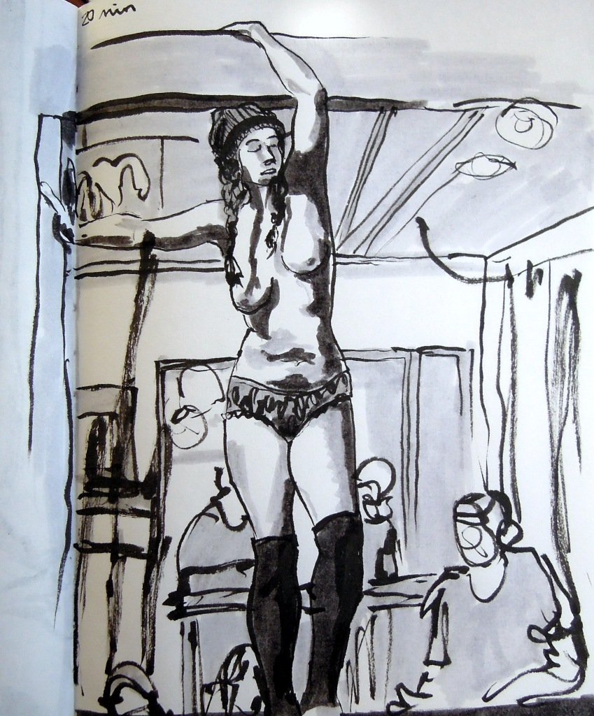 Marker sketch of a standing nude woman, by Lisa Hsia