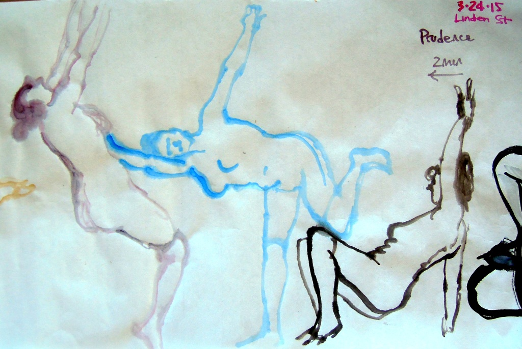 Watercolor gesture sketches of a nude woman, by Lisa Hsia
