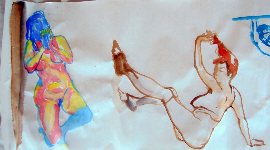 Five-minute watercolor sketches of a nude woman, by Lisa Hsia