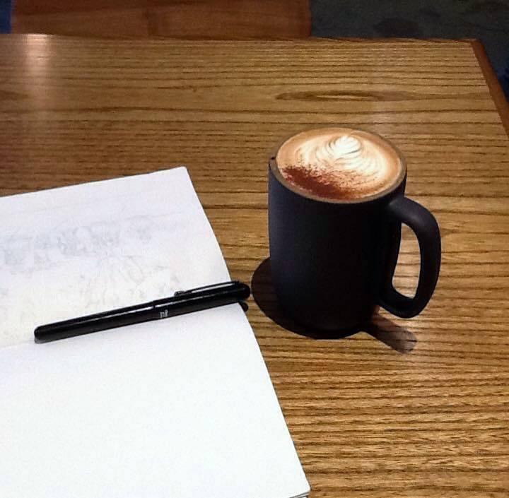 Sketchbook and a mocha at Mazarine, San Francisco
