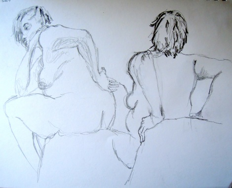 Sketches of a seated nude woman, by Lisa Hsia