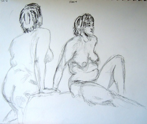 Sketches of a nude woman, by Lisa Hsia