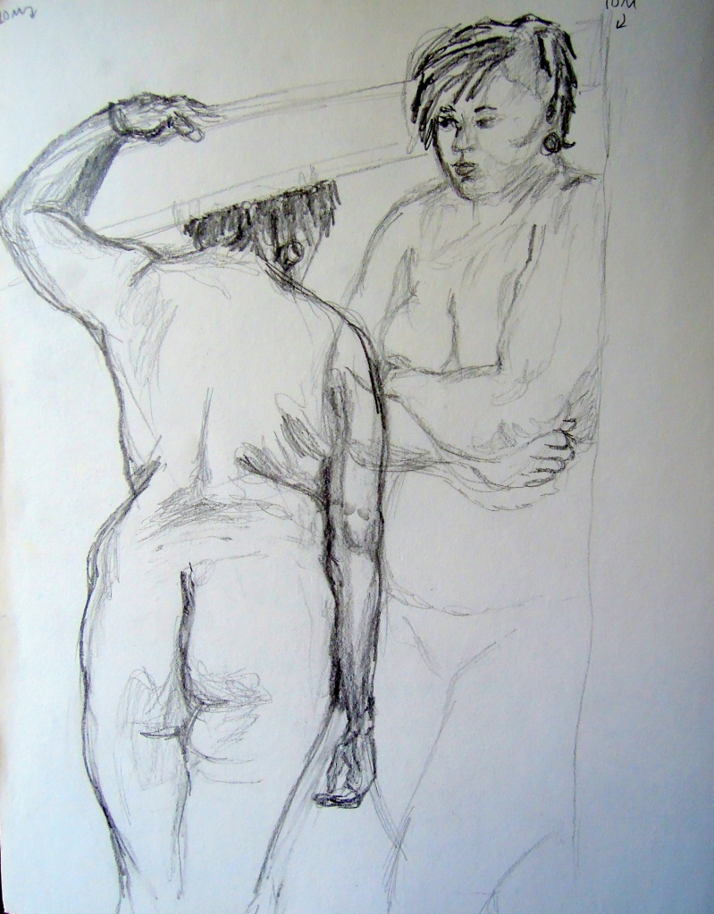 Sketches of a standing nude woman, by Lisa Hsia