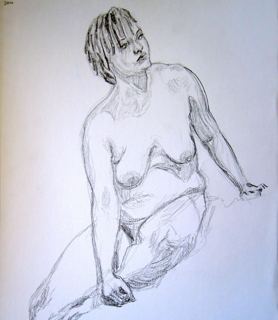 Sketch of a seated nude woman, by Lisa Hsia