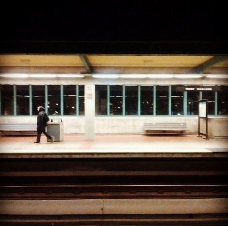 West Oakland BART station at 9 PM on a Friday night (via Satsumabug on Instagram)