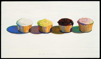 Wayne Thiebaud, Four Cupcakes, 1971
