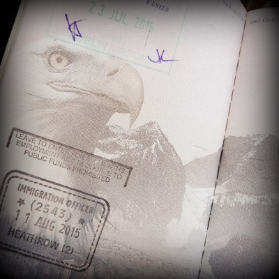 Page from a US passport showing one stamp from Ireland and one from England