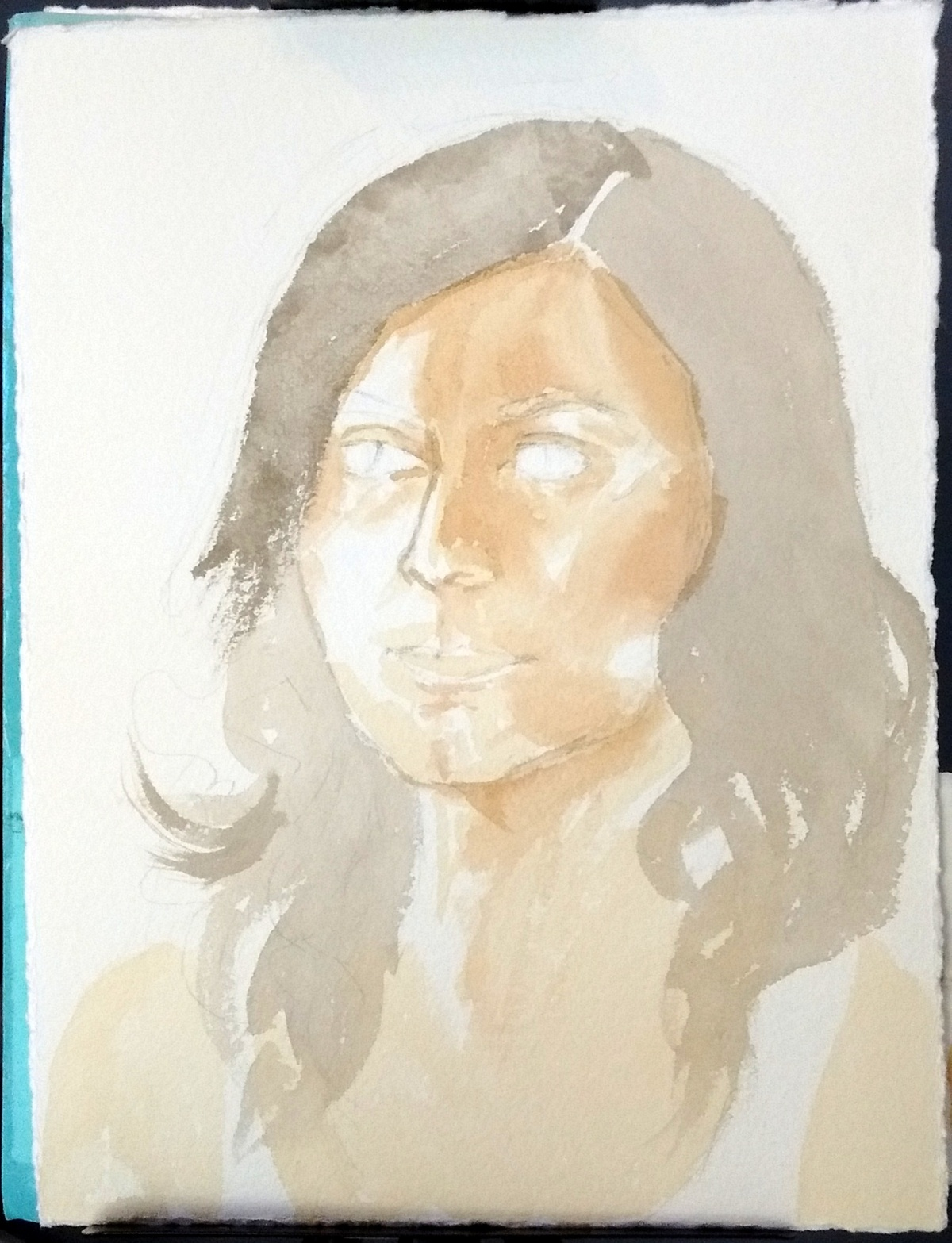 In-progress watercolor portrait