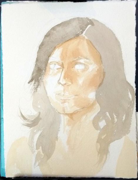 In-progress watercolor portrait