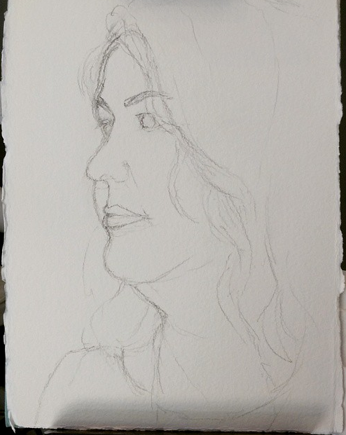 Pencil sketch of Roula in preparation for her portrait