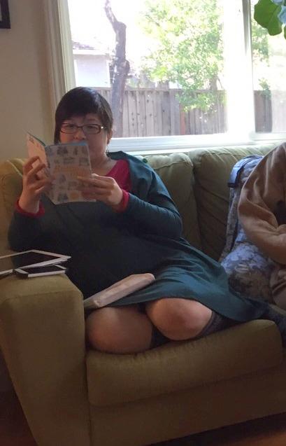 Lisa perusing cookbooks