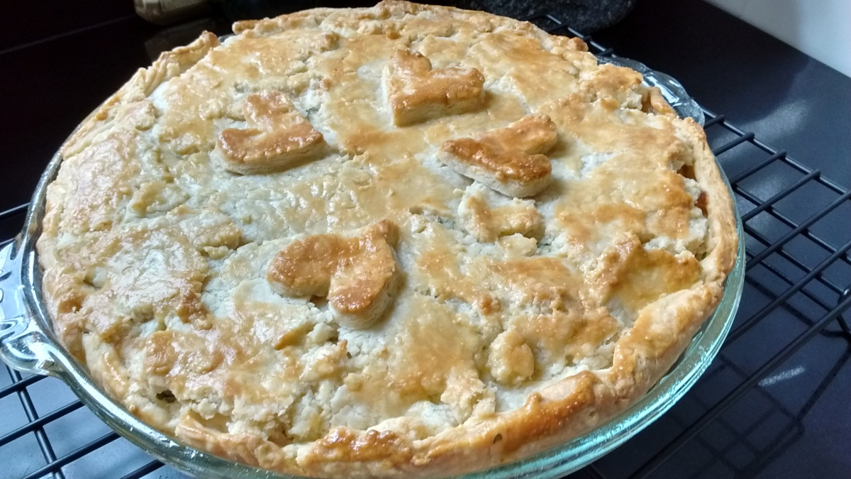 Chicken pie with heart-shaped cutouts on top crust