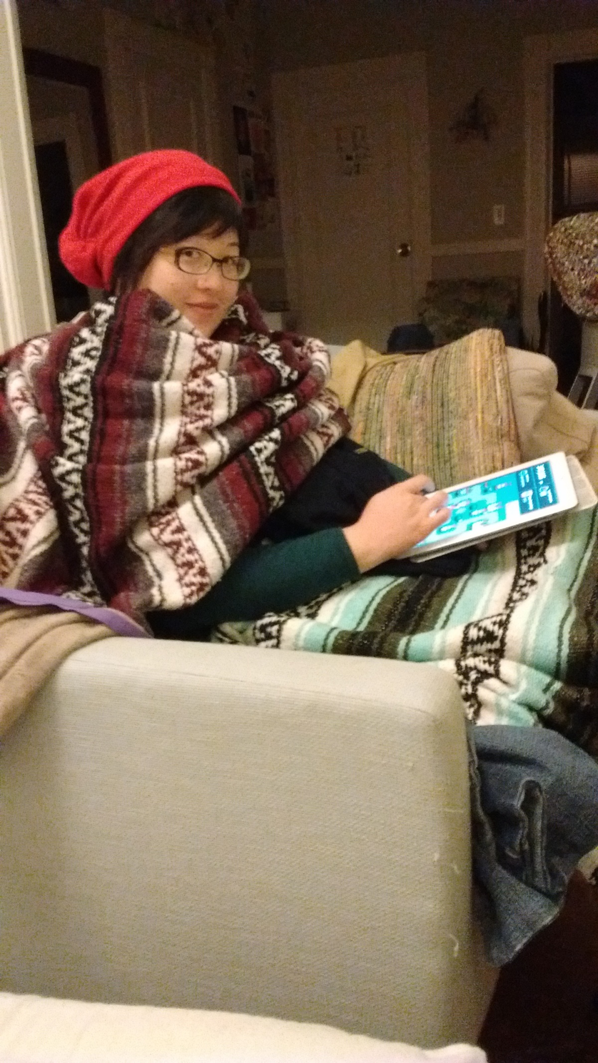 Lisa keeping warm