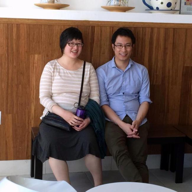 Lisa and Erik in a tea shop