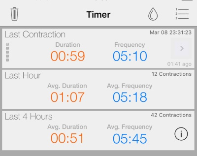 Screenshot of Full Term contraction timer app, right before calling the doctor
