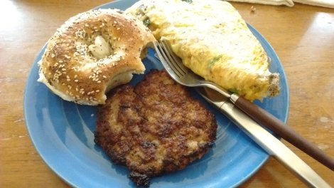 Mushroom omelet, chicken sausage, and everything bagel with cream cheese, from Beauty's Bagels in Oakland