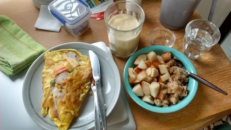 Turkey and veg omelet, fruit smoothie, pears and oatmeal