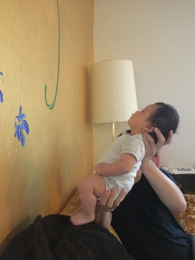 Baby Ada being held up to look at a decorated wall