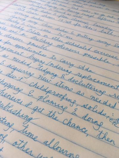 handwritten list