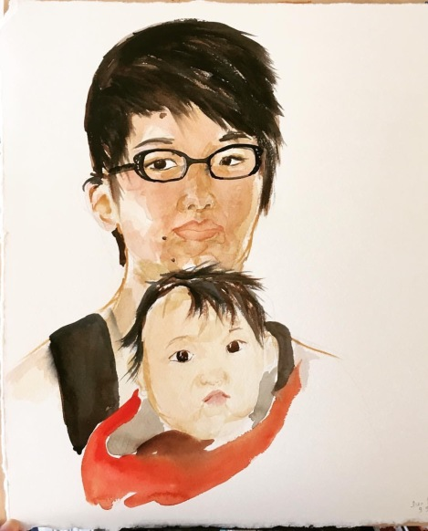 watercolor self-portrait of Lisa and baby Ada