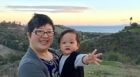 Lisa and 9-month-old Ada in Santa Barbara, Christmas 2016