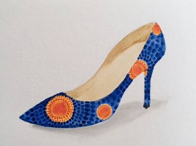 Watercolor painting of a stiletto heel in blue and gold ankara fabric, by Lisa Hsia