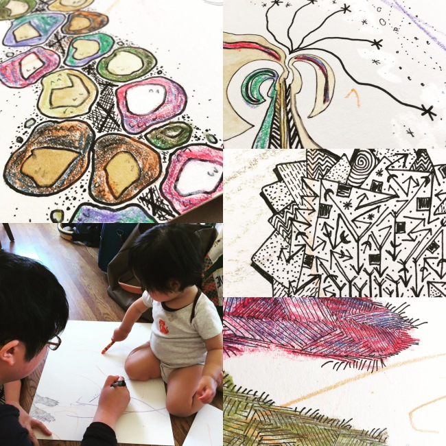 Lisa Hsia making art with her daughter, in ink and crayon and paint