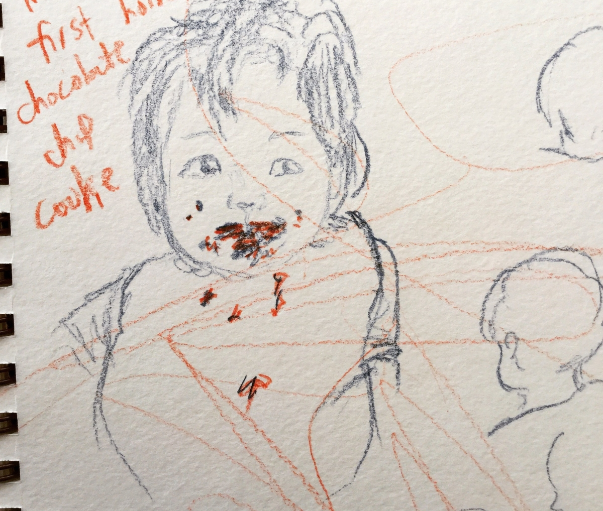 Sketch of 14-month-old Ada eating a chocolate chip cookies, Lisa Hsia