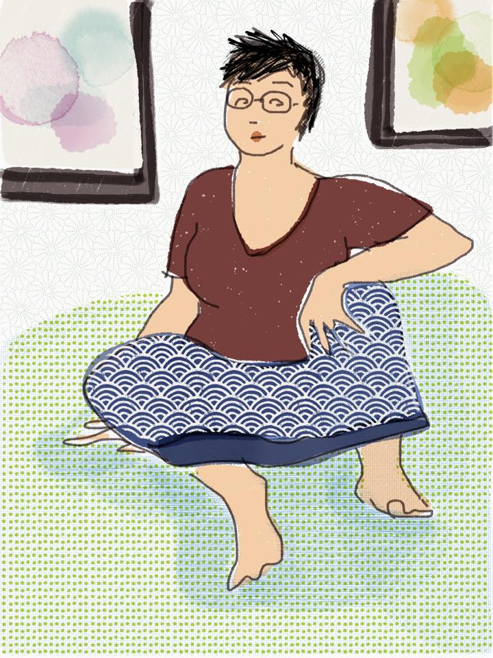 Digital drawing of Lisa sitting down contemplatively