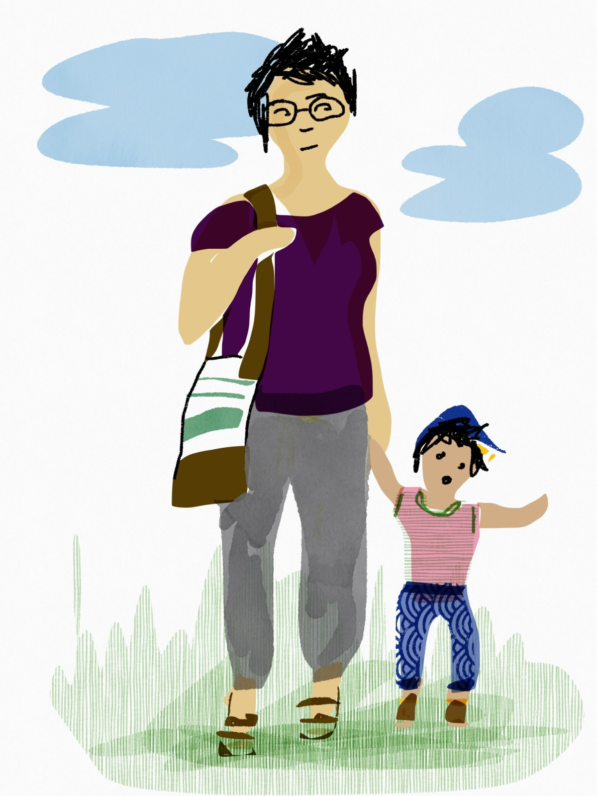 Digital drawing of a dark-haired, light-brown-skinned mother and toddler