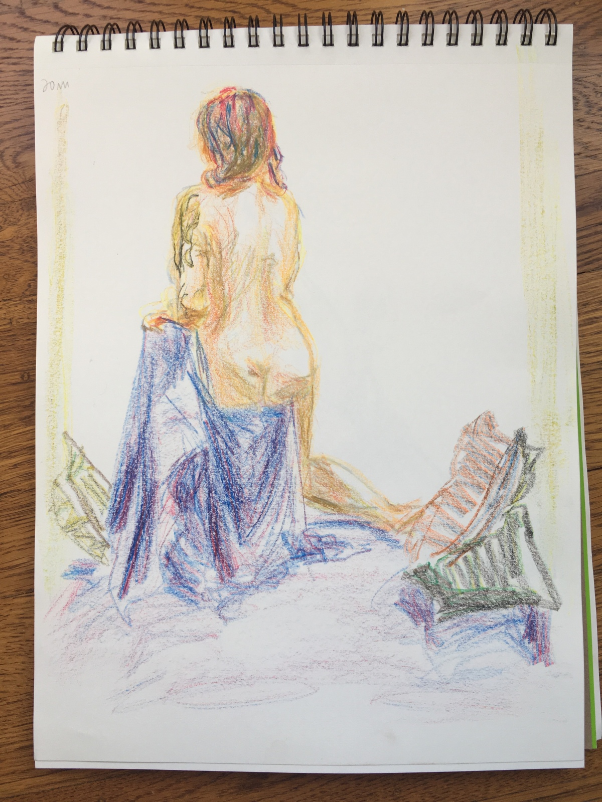 5-minute crayon sketch of a nude woman seen from behind, sitting on a draped chair, by Lisa Hsia, January 2018