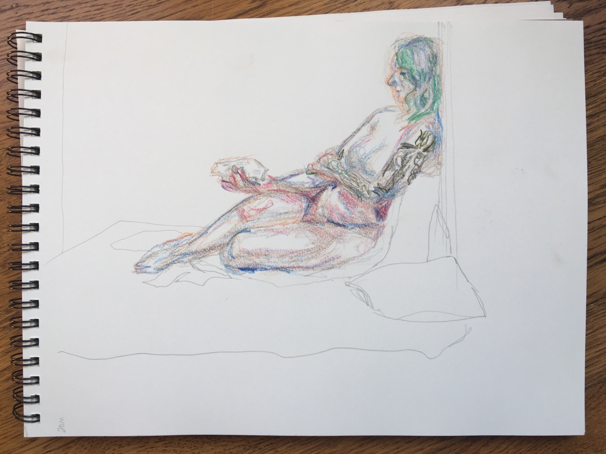 20-minute crayon sketch of a seated nude woman holding a sheep skull, by Lisa Hsia, January 2018