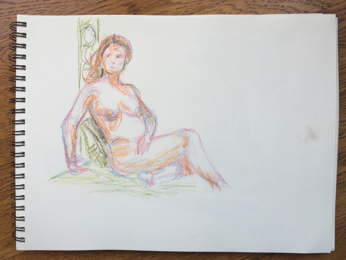 10-minute crayon sketch of a nude woman sitting against a post, by Lisa Hsia, January 2018