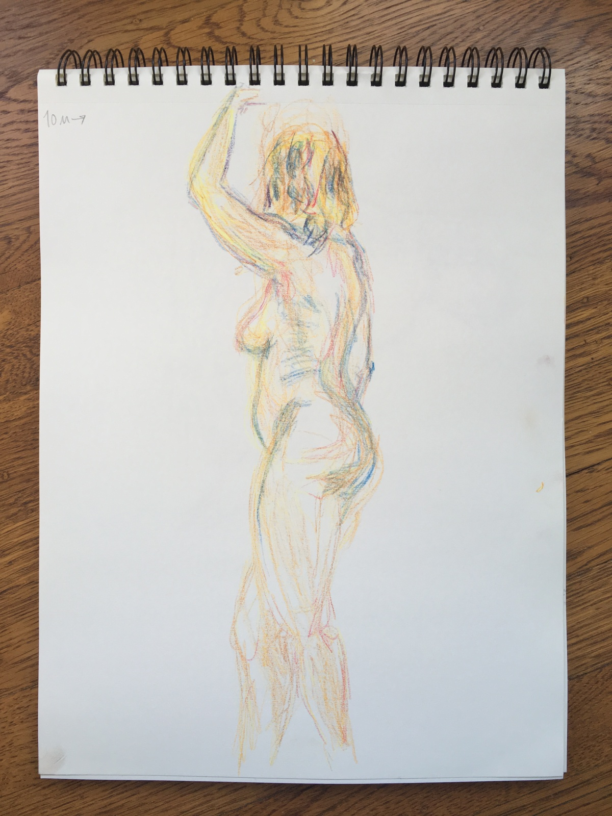 5-minute crayon sketch of a standing nude woman, by Lisa Hsia, January 2018