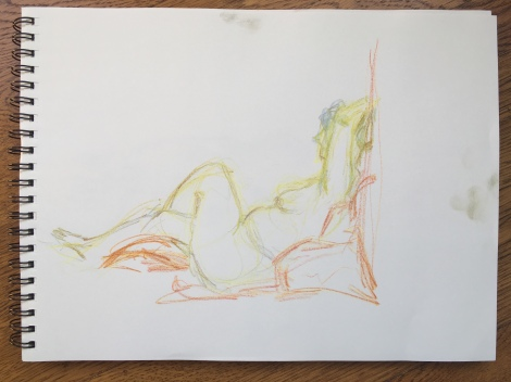 5-minute crayon sketch of a seated nude woman, by Lisa Hsia, January 2018