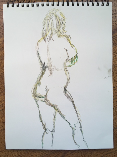 5-minute crayon sketch of the back of a standing nude woman, by Lisa Hsia, January 2018