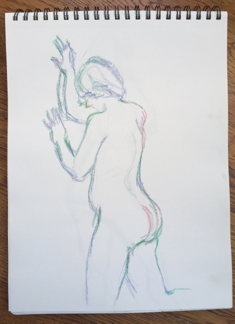 5-minute crayon sketch of a nude woman, by Lisa Hsia, January 2018