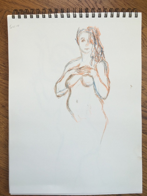 5-minute crayon sketch of a nude woman clasping her hands over her sternum, by Lisa Hsia, January 2018