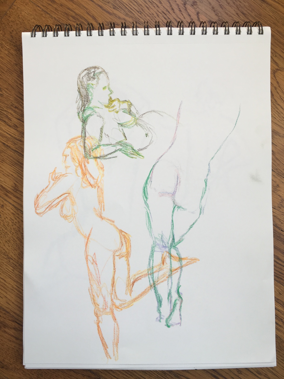 2-minute crayon sketches of a nude woman, by Lisa Hsia, January 2018