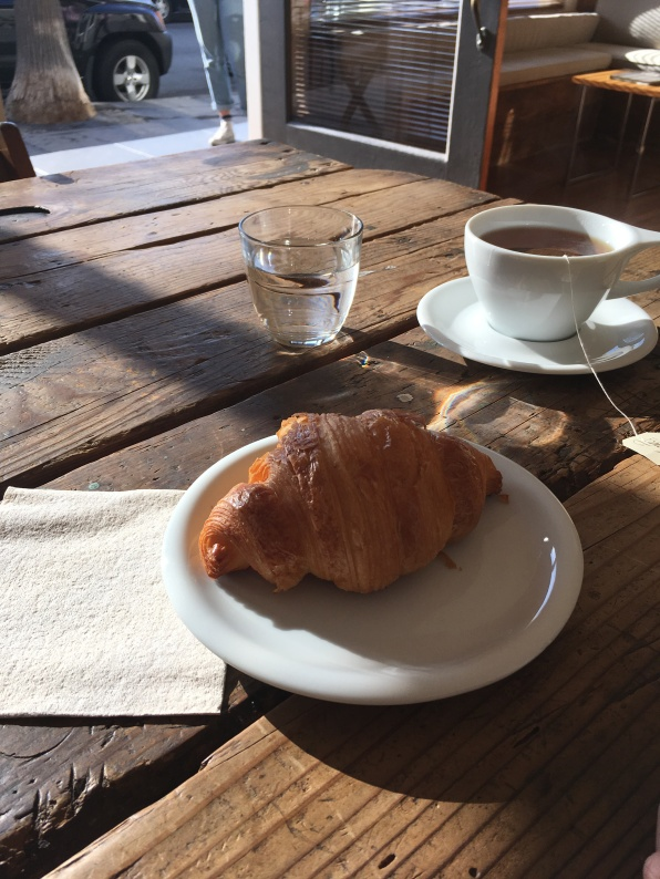 Croissant and tea at The Rose Hotel, Venice, CA