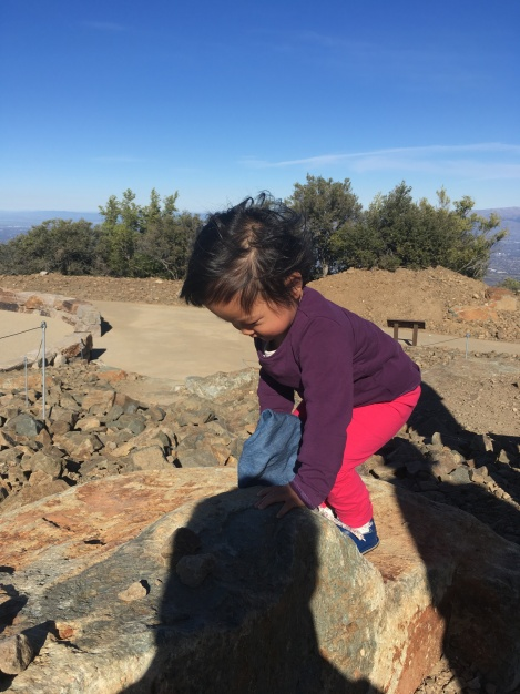 Toddler climbing on a rock